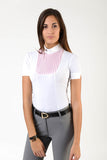 Ladies polo shirt | lady polo shirt | cotton | polo shirt | shirt | model VERONICA | riding polo | lady polo | lady riding shirt | riding shirt | ladies riding shirt | comfort of movement | Makebe | clothing | equestrian | riding | technical material | made in Italy | elegance | white | pink |