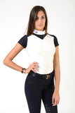 Ladies polo shirt | lady polo shirt | cotton | polo shirt | shirt | model JANE | riding polo | lady polo | lady riding shirt | riding shirt | ladies riding shirt | comfort of movement | Makebe | clothing | equestrian | riding | technical material | made in Italy | elegance | deal | deals | discounts | sales | black | white |