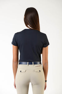 Ladies polo shirt | lady polo shirt | cotton | polo shirt | shirt | model CAROLINE | riding polo | lady polo | lady riding shirt | riding shirt | ladies riding shirt | comfort of movement | Makebe | clothing | equestrian | riding | technical material | made in Italy | elegance | blue |