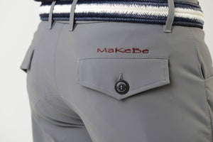 Men riding breeches | alcantara grip | model COSIMO | equestrian | riding breeches | clothing | Makebe | made in Italy | comfort of movement | grip | technical materials | grey |