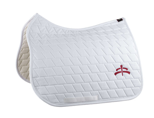 Dressage carded saddle pad with Makebe logo