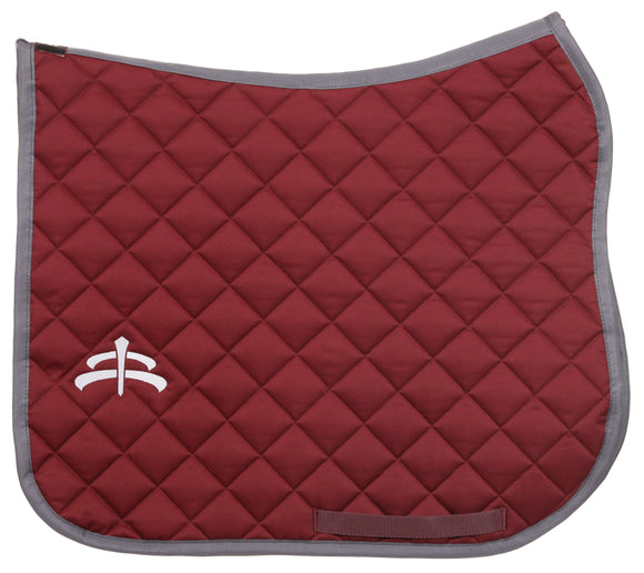 Wadded saddle pad | Makebe Logo | 450 gr | DRESSAGE version | bordeaux | grey ribbon