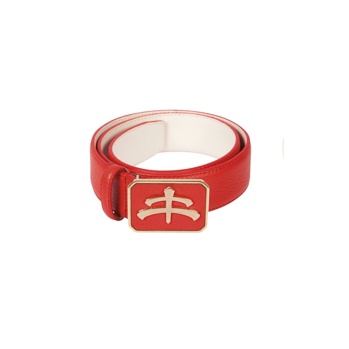 Leather and brass Belt | red