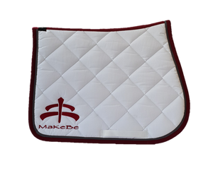 Saddle pad | Makebe logo | saddle pad | saddlepad | Makebe | Stable | made in Italy | equestrian | riding | white |