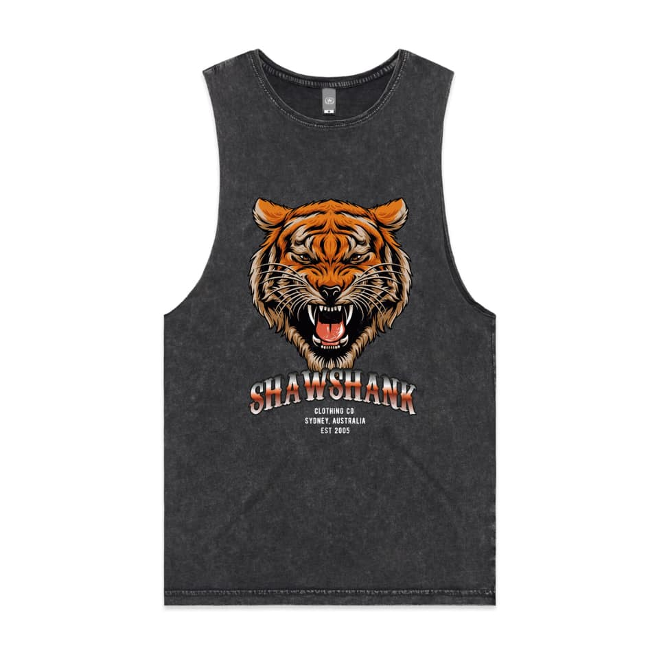 "MEN'S ""EYE OF THE TIGER"" ACID WASH' Sleeveless Tank Top."