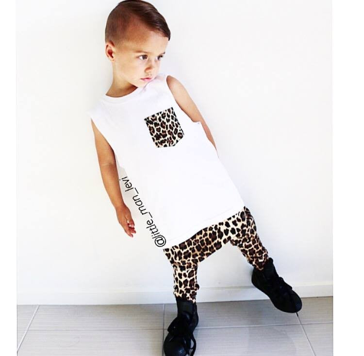 KT14- LEOPARD CUSTOM POCKET KIDS TSHIRT / TANK - Shawshank Clothing