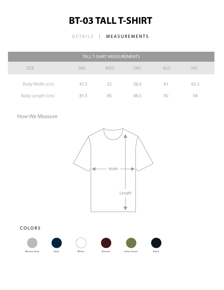 BT03 - TALL T-SHIRT - Shawshank Clothing
