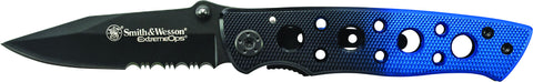 Smith & Wesson Extreme Ops Liner Lock Folding Knife Partially Serrated Clip Point Blade Aluminum Ha