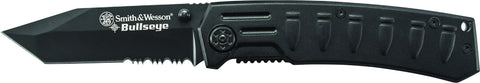 Smith & Wesson Bullseye Liner Lock Folding Knife Partially Serrated Tanto Blade Aluminum Handle