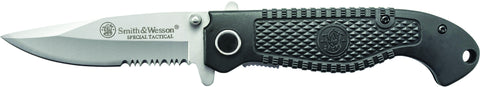 Smith & Wesson Special Tactical Liner Lock Folding Knife Partially Serrated Drop Point Blade Compos