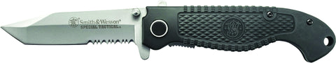 Smith & Wesson Special Tactical Liner Lock Folding Knife Partially Serrated Tanto Blade Composite H