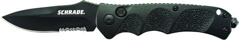 Schrade Push Button Lock Folding Knife Partially Serrated Drop Point Blade