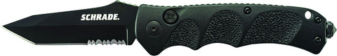 Schrade Push Button Lock Folding Knife Partially Serrated Tanto Blade