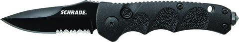 Schrade Mini Push Button Lock Folding Knife Partially Serrated Drop Point Blade