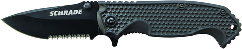 Schrade Liner Lock Folding Knife Partially Serrated Drop Point Blade ABS & TPR Handle