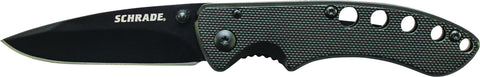 Schrade Liner Lock Folding Knife Drop Point Blade Black Aluminum Handle