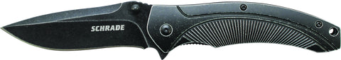 Schrade Large Liner Lock Folding Knife Drop Point Blade Aluminum Handle