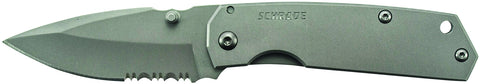Schrade Mini Frame Lock Folding Knife Partially Serrated Drop Point Blade Steel Handle