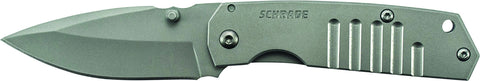 Schrade Mini Frame Lock Folding Knife Drop Point Blade Steel Handle