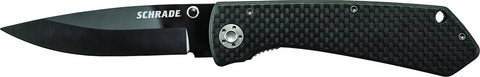 Schrade Large Ceramic Liner Lock Folding Knife Drop Point Blade Carbon Fiber Handle