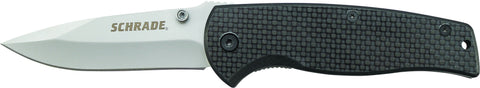 Schrade Liner Lock Folding Knife Drop Point Blade Carbon Fiber Handle