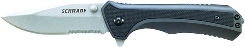 Schrade Liner Lock Folding Knife Partially Serrated Drop Point Blade Aluminum Handle