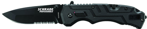 Schrade Professionals M.A.G.I.C. Assisted Opening Folding Knife Partially Serrated Drop Point Blade