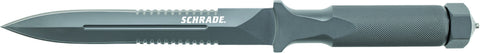 Schrade One-Piece Drop Forged Dual Partially Serrated Double Edged Boot Knife Fixed Blade
