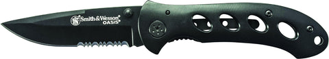 Smith & Wesson Oasis Liner Lock Folding Knife Partially Serrated Drop Point Blade Steel Handle