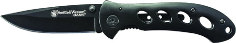 Smith & Wesson Oasis Liner Lock Folding Knife Drop Point Blade Steel Handle