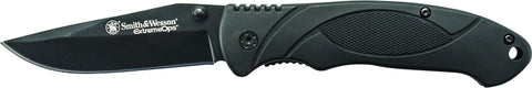 Smith & Wesson Extreme Ops Liner Lock Folding Knife Clip Point Blade Rubber Handle