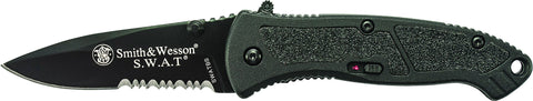 Smith & Wesson Small S.W.A.T. M.A.G.I.C. Assisted Opening Liner Lock Folding Knife Partially Serrat