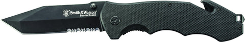 Smith & Wesson Border Guard Liner Lock Black Tanto Partially Serrated Tanto Blade G-10 Handle