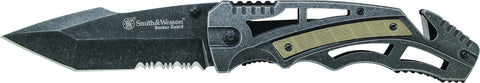 Smith & Wesson Liner Lock Partially Serrated Tanto Folding Knife