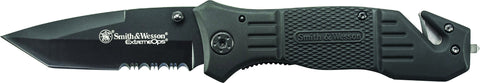 Smith & Wesson Extreme Ops Liner Lock Folding Knife Partially Serrated Drop Point Tanto Blade Speci