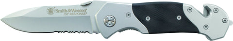 Smith & Wesson 1st Response Liner Lock Folding Knife Partially Serrated Drop Point Blade Steel Hand