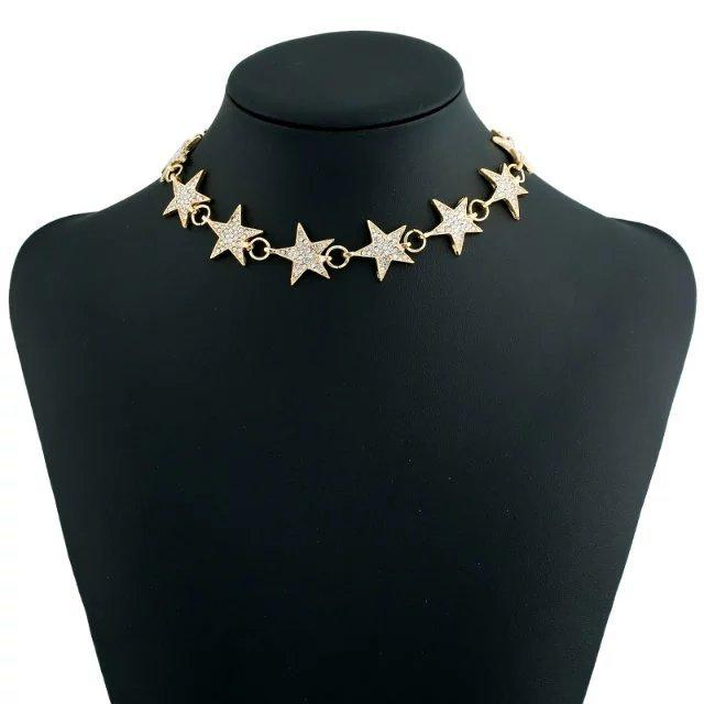 Gold Rhinestone Star Chocker