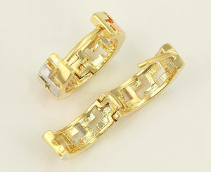 Greek Key Gold and Sliver Hoop Earrings