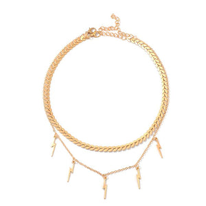 Layered Gold Lightning Bolt Choker