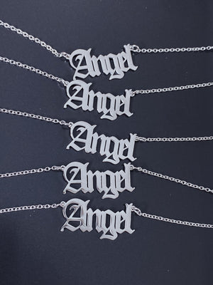 Angel Old English Font Necklace