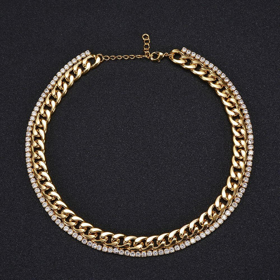 Gold Chain Necklace with Crystal Row