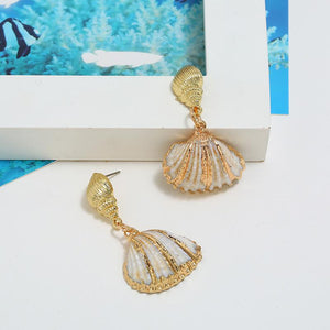 Scotch bonnet and Cross-barred Venus Shell Drop Earrings