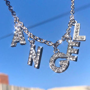 Silver Rhinestone Crystal Name Necklace