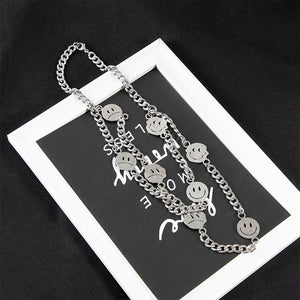 Layered Silver Smiley Face Necklace
