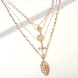 Layered Crystal Cross and Mary Necklace