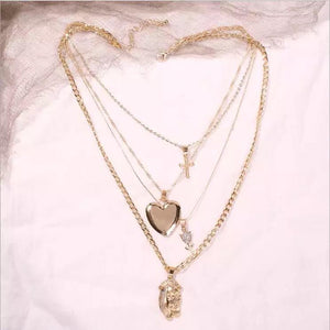 Layered Gold Heart and Jesus Necklace