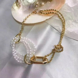 Gold Pearl and Chain Choker