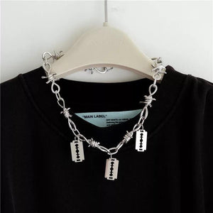 Barbed Wire and Razor Blade Necklace