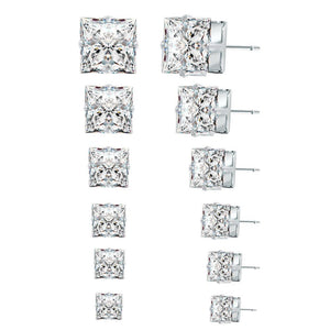 Crystal Princess Cut Diamond Earrings