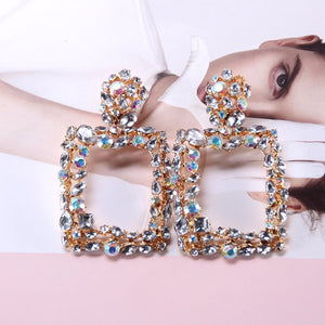 Dazzling Rhinestone Rectangular Crystal Earrings